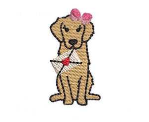 Embroidery Add On: Valentine Delivery Pup with Bow