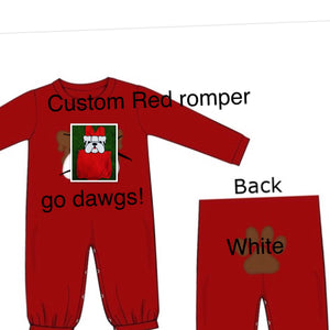 Special Order: Red Romper with White Bulldawg and Text