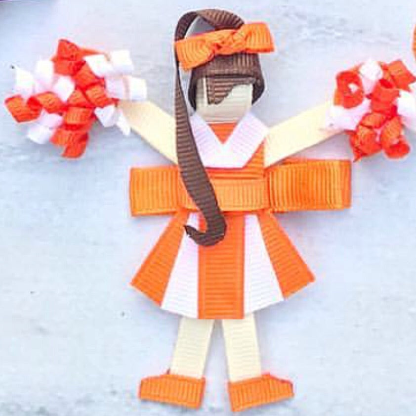 Orange and white cheerleader Bow on Alligator Clip