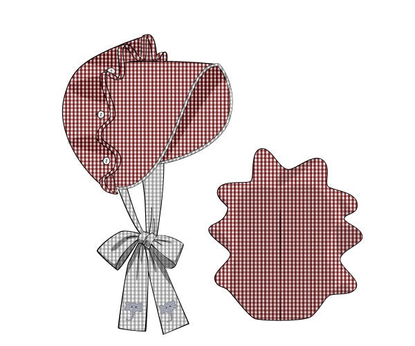Bonnet: Red and Grey Gingham with Elephant Embroidery