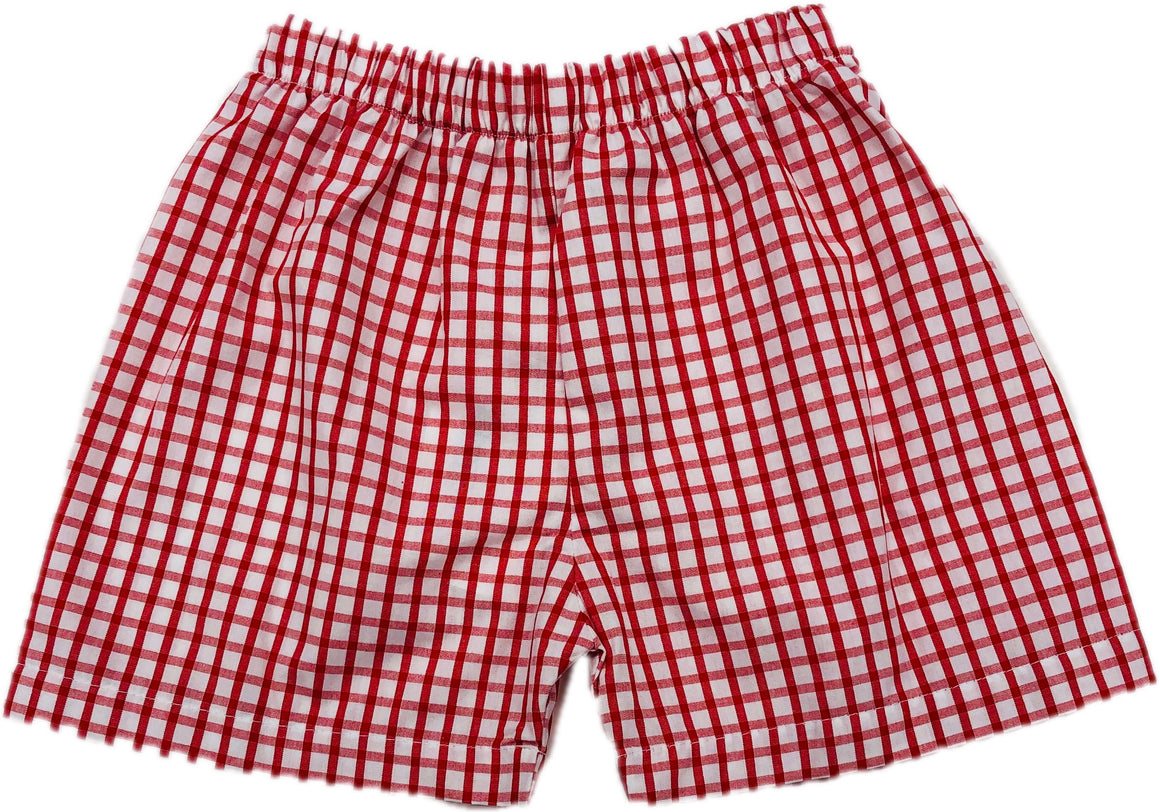 Mouse Collection: Red Windowpane Shorts - In stock
