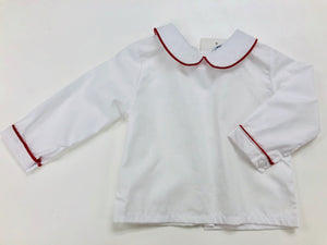 White Long Blouse with Red Piping