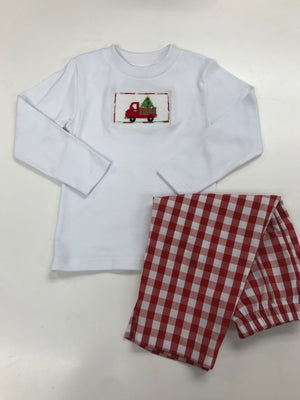 Smocked a Red Truck with Christmas Tree Tee and Red Check Pant Set