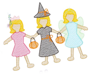 Embroidery Add On: Halloween Girl Paper DollS