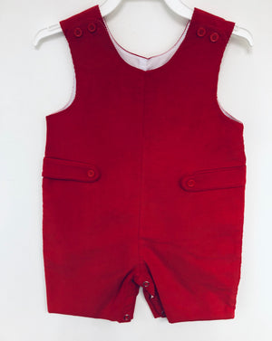 Red Corduroy Shortall with Side Buttons