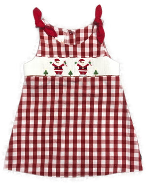 Girls smocked Santa dress with bow on shoulder