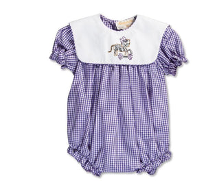 Purple Gingham Bubble with Tiger Cheerleader Collar