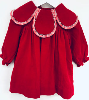 Red Corduroy Petal Dress