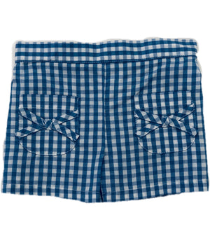 Blue Check Bow Pocket Shorts