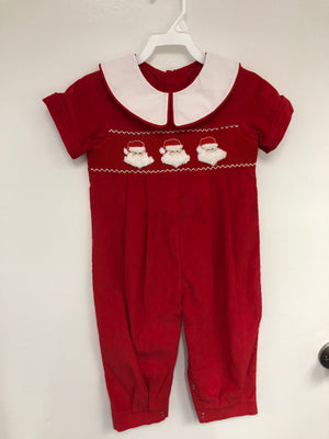 Smocked Santa Red Romper with Collar