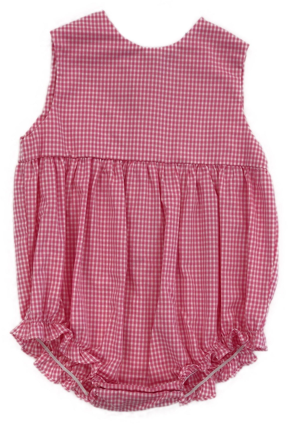 Hot Pink Gingham Pleated Front Bubble