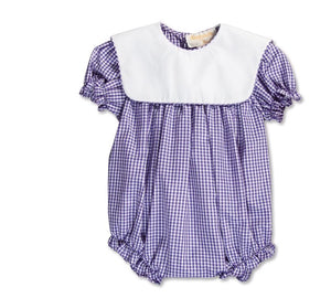 Purple Gingham Bubble with Collar