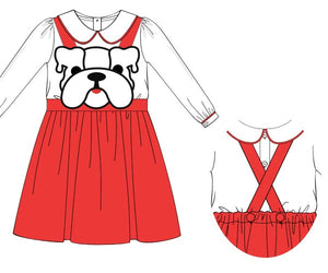 Preorder- Girl Knit Bulldog Romper with Shirt