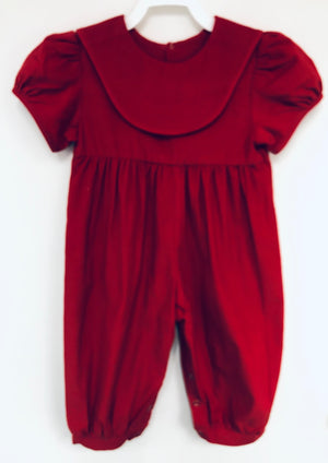 Red Corduroy Girl Romper with Red Collar