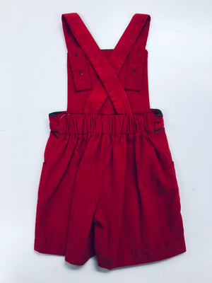 Red Corduroy Criss Cross Shortall with Green Piping