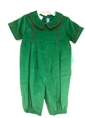 Green Corduroy P Collar Romper with Red Piping