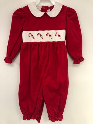 Smocked Candy Cane Red Cord Ruffle Romper