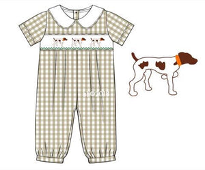 Special Order: Pointer Dog x3 Khaki Romper