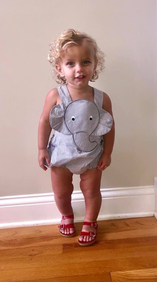 Best selling! Elephant Grey Gingham Sunsuit