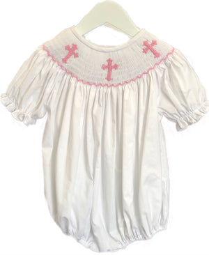 Smocked Pink Cross Bishop Bubble