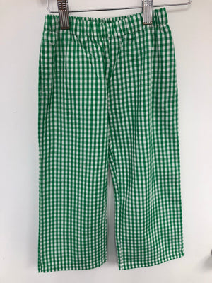 Green Gingham Straight Pants