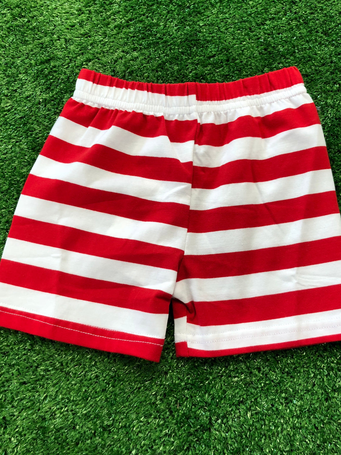 Red Stripe Knit Shorts