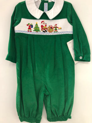 Smocked Santa and Elves Green Cord Romper
