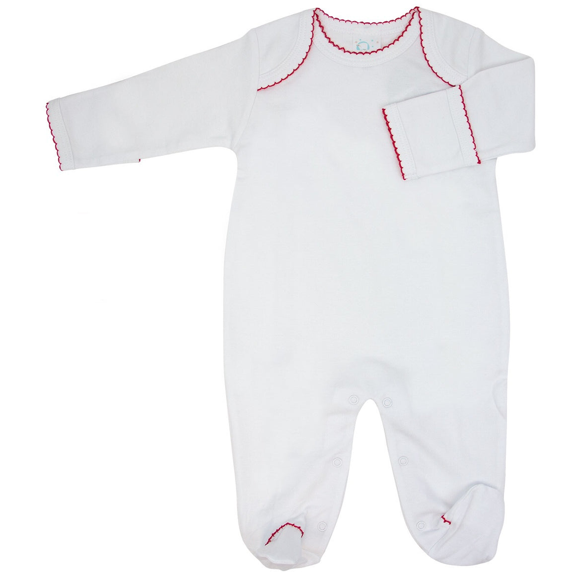 White Knit Footie with Red Trim