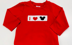 Long Sleeve Smocked I Love the Mouse Red Unisex Tee