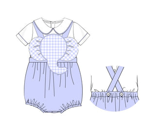 Baby Blue Elephant Sunsuit