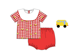 School bus embroidered diaper set with collar