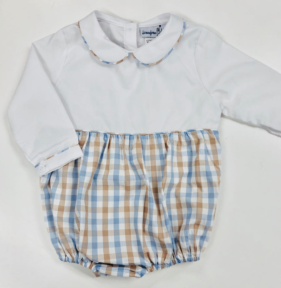 Blue and Brown Plaid Bubble