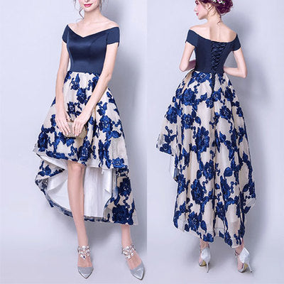 Stylish navy blue high low prom dress, homecoming dresses