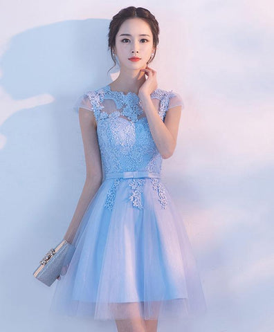Light blue A line tulle lace short prom dress, homecoming dress 2019
