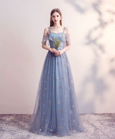 Elegant Blue tulle long prom dress blue tulle bridesmaid dress