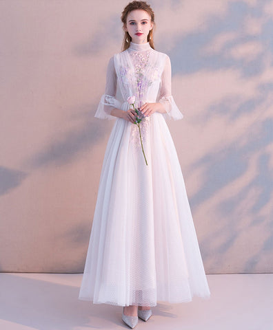 2020 White High Neck Tulle Lace Tea Length Prom Dress Bridesmaid Dress