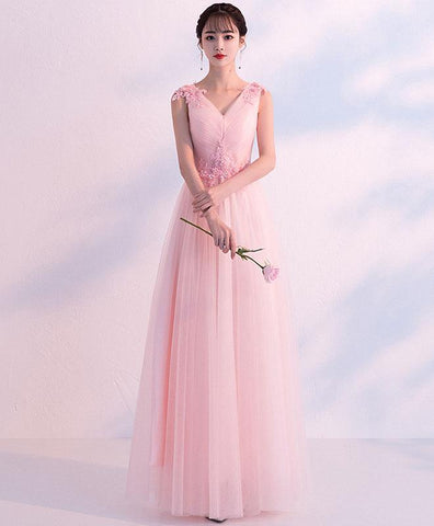Simple Pink V Neck Tulle Long Prom Dress, Pink Tulle Bridesmaid Dress