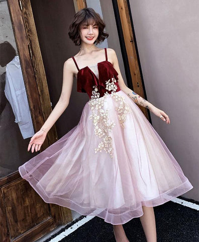 4ee315734a5 Pink sweetheart neck tulle short prom dress