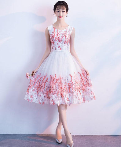 Cute Pink Round Neck Lace Tulle Short Prom Dress For Teens, Pink Homecoming Dress