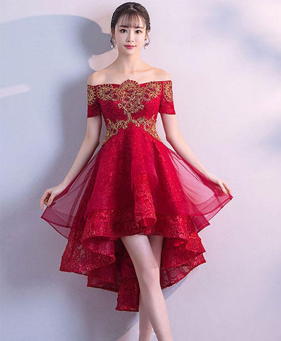 2019 New Design Burgundy Tulle Lace High Low Prom Dress, Burgundy Tulle Bridesmaid Dress