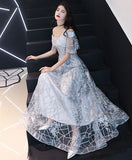 Unique Gray Tulle Lace One Shoulder Long Prom Dress Lace Evening Dress
