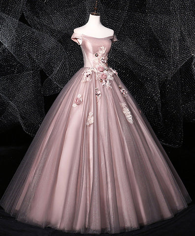 Cute Dark Pink Tulle Lace Long Prom Dress Tulle Lace Evening Dress
