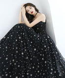 Black v neck tulle long prom dress, black evening dress for teens