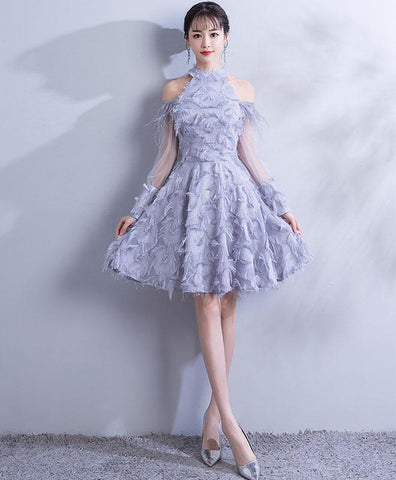 Cute Gray Lace Short Prom Dress For Teens, Gray Lace Homecoming Dress