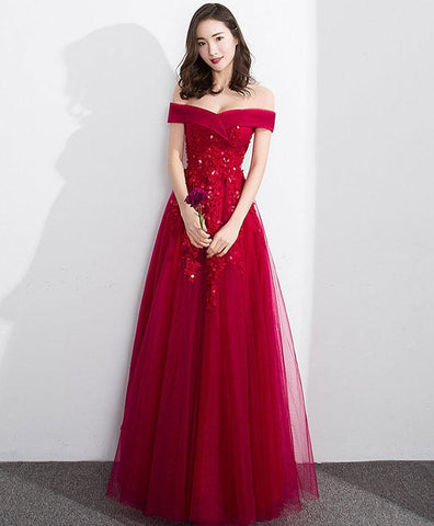 Prom 2020 Burgundy Off Shoulder Tulle Lace Long Prom Dress, Evening Dress