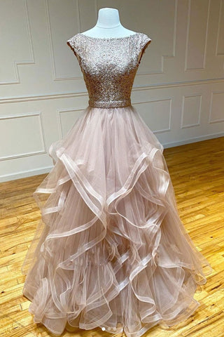 Elegant Champagne round neck tulle lace long prom dress evening dress
