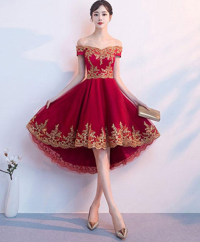Burgundy Tulle Lace Prom Dress, Short Prom Dress, Burgundy Bridesmaid Dress