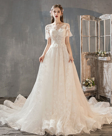 Elegnt light champagne tulle lace long wedding dress, lace bridal dress