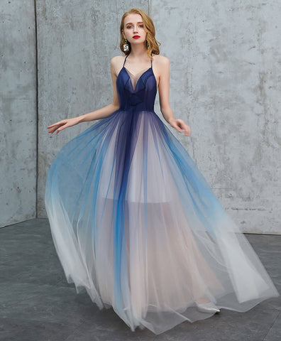 Cute Blue v neck tulle long prom dress blue tulle evening dress 2021