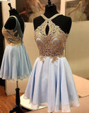 Light blue lace short prom dress, blue homecoming dress